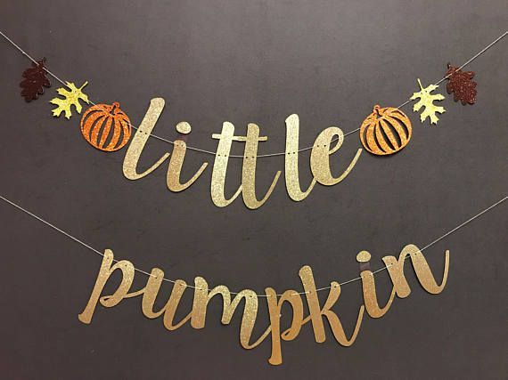 Fall baby shower banner - little pumpkin