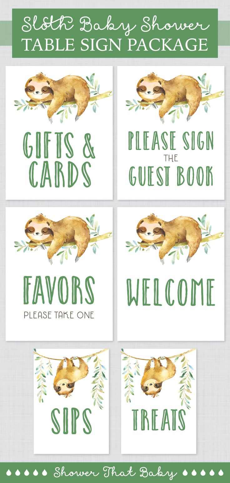 Printable Sloth Baby Shower Table Signs Package - Six printable sloth themed dec...