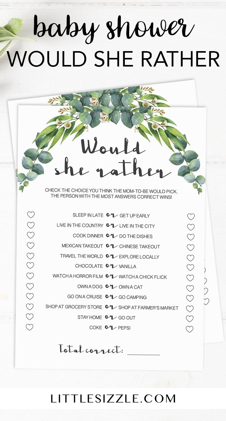 Greenery baby shower Would She Rather game by LittleSizzle. These printable Woul...