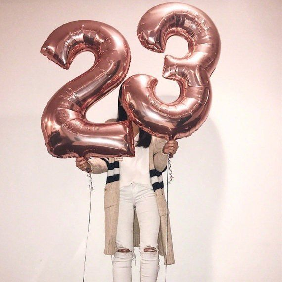 Feeling 23 Birthday Balloons, Rose Gold Number 23 Balloons, 23 Balloons, Giant N...