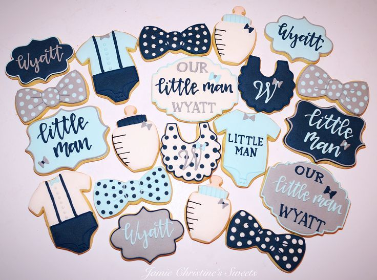 Little man cookies navy blue gray bow ties baby shower#Baby #shower #cakes