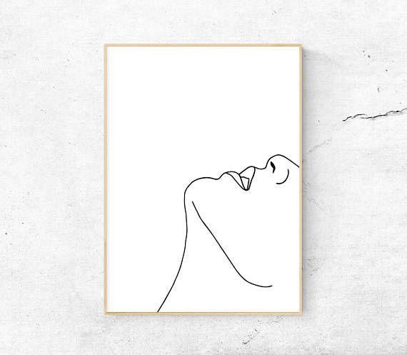 White abstract face body printable art minimalist print modern ...