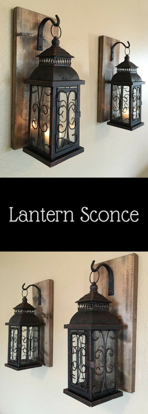 Lantern pair wall decor, wall sconces, bathroom decor, home and living, wrought ...