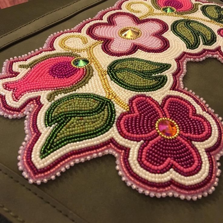 """Adam Lee Avery on Instagram: """"Ojibwe floral up-cycled purse!! Backpack style p..."""