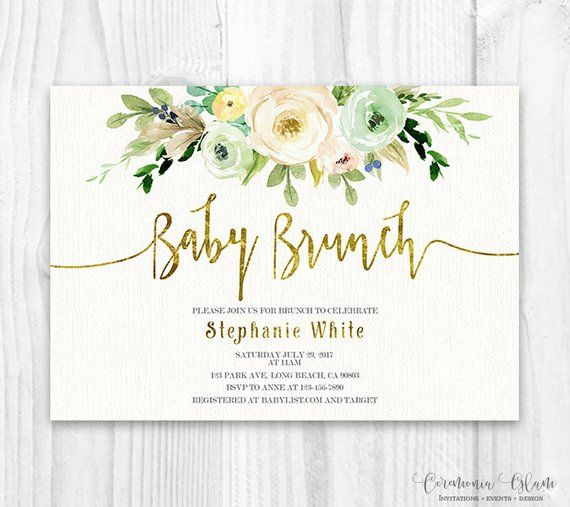 Printable invitation for neutral gender Baby Shower, rustic baby shower invite, ...