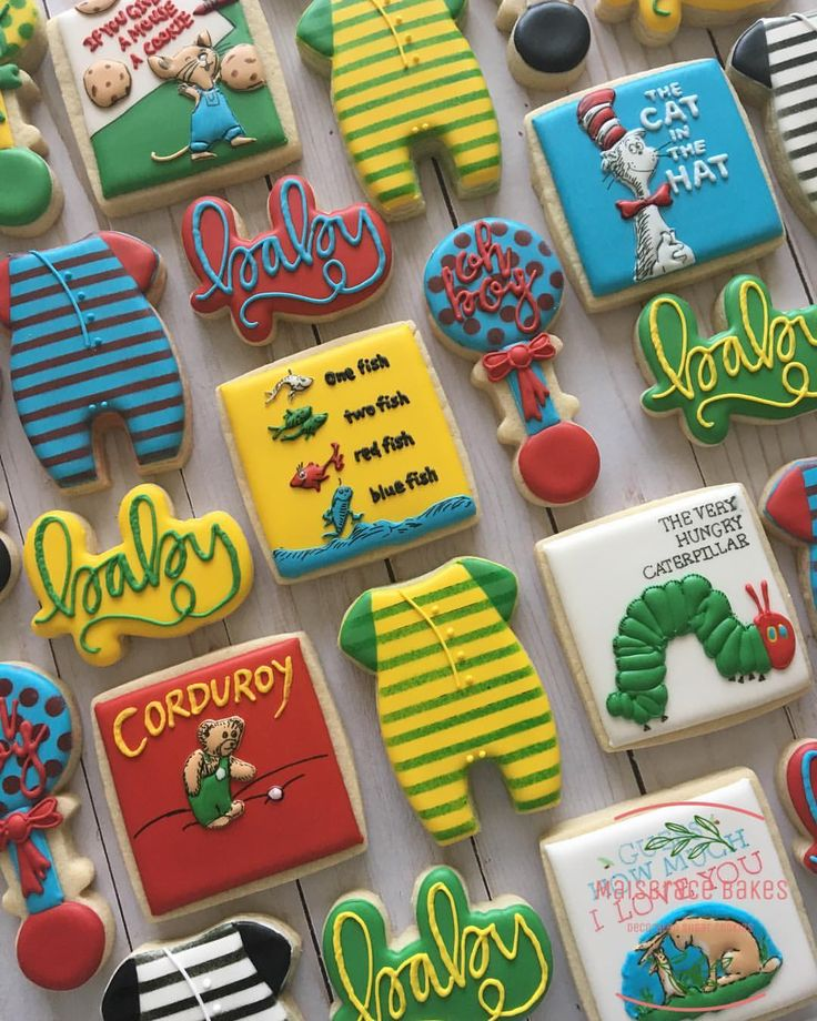 Colorful cookies for a book themed baby shower! These were SO fun to make. Like ...