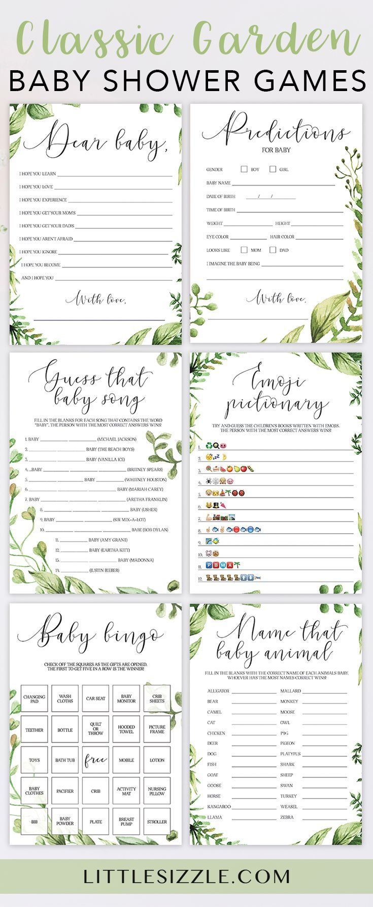 Printable garden baby shower games bundle with green leaves by LittleSizzle. Cli...