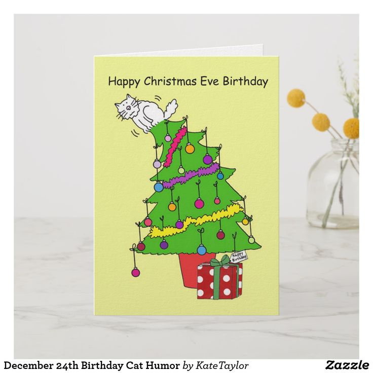 December 24th Birthday Cat Humor Card birthday cards,funny birthday cards,greeti...