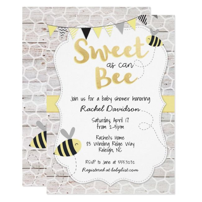 Sweet as can Bee Baby Shower Invitation #Ad , #AFFILIATE, #Baby#Shower#Invitatio...
