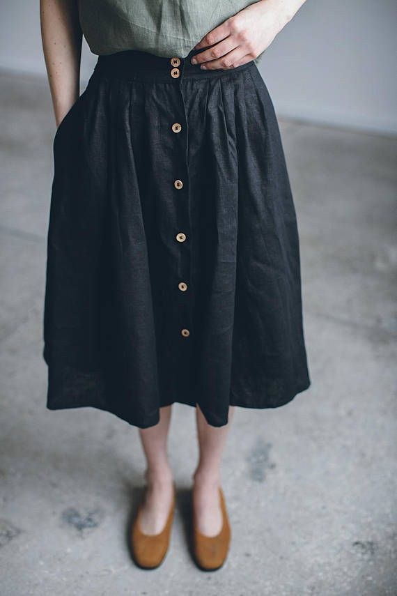 Linen skirt/ Linen skirt with buttons/ Washed linen skirt/