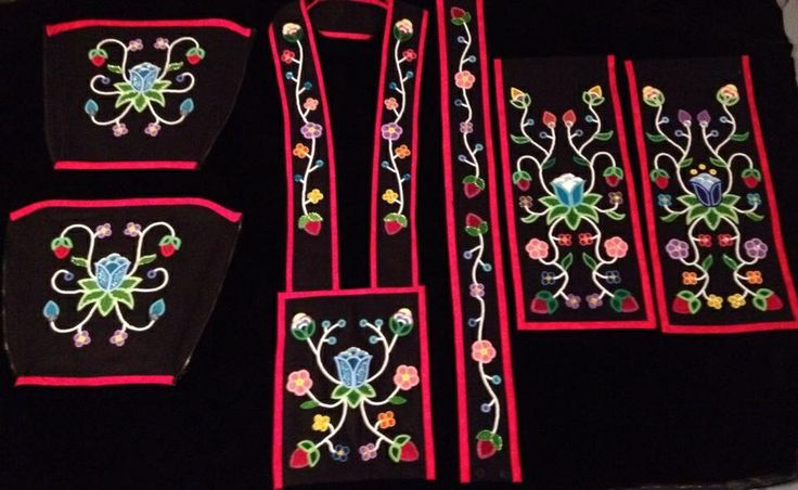 Beaded woman's outfit- Ojibwe beadwork: beaded by Jessica Gokey 2014
