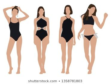 Vector of young swimsuit woman, group of women, wearing swimsuit outfit  ,standi...