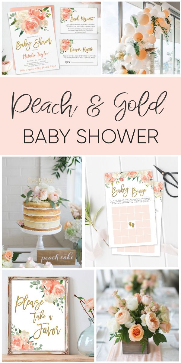 Dreamy Baby Shower in Peach and Gold! + Free Printable!! Baby Shower, Peach Gold...