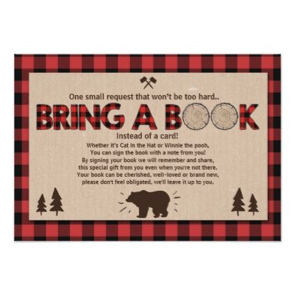 Baby Shower Bring a book Lumberjack Plaid Bear Card - baby gifts giftidea diy un...