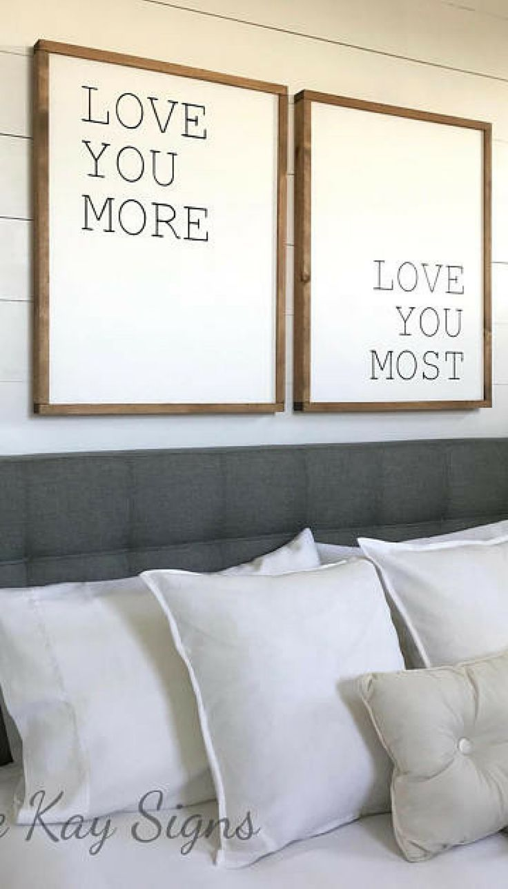 Bedroom wall decor | love you more love you most wooden sign | Build ...