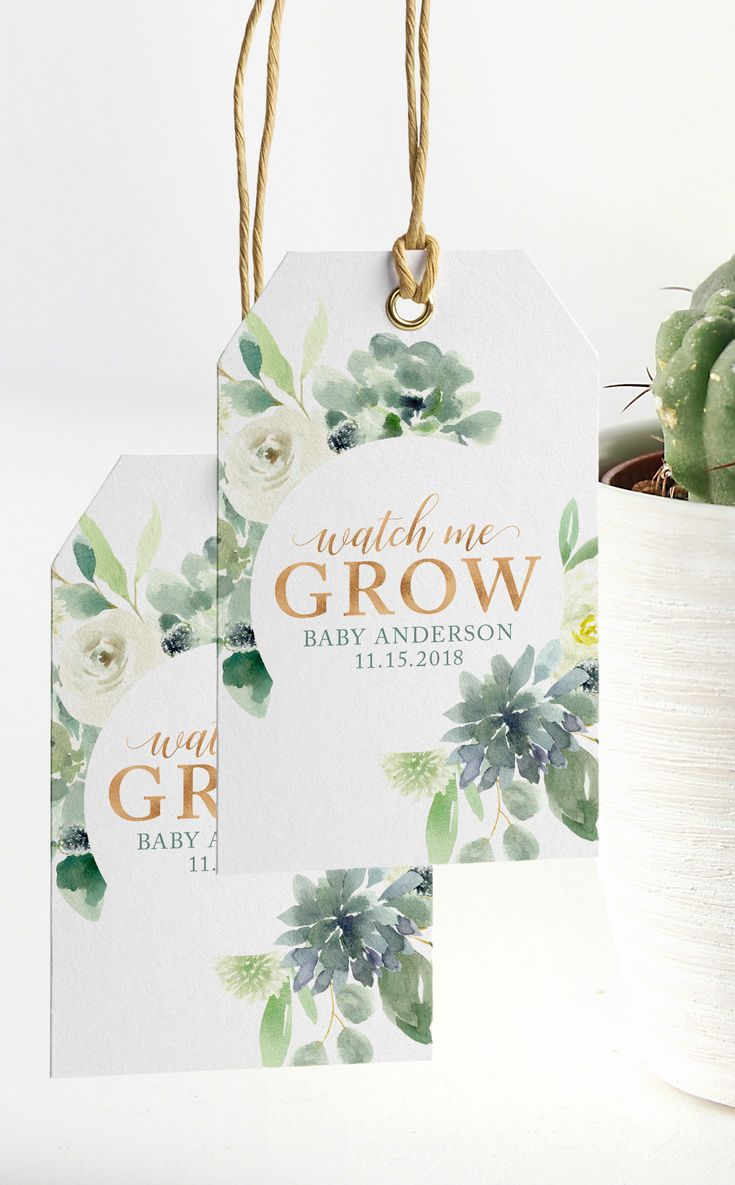 Succulent Watch Me Grow Thank You Tags and Sign ready to print and display at yo...