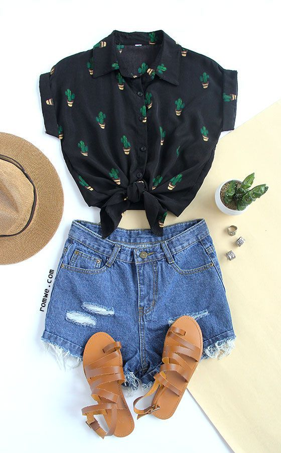 Black Buttons Front Cactus Print Chiffon Blouse with denim shorts and khaki sand...