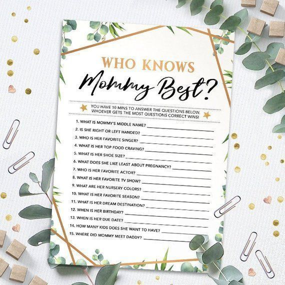 Who Knows Mommy Best, Baby Shower Game Printable, Baby Shower Instant Download, ...