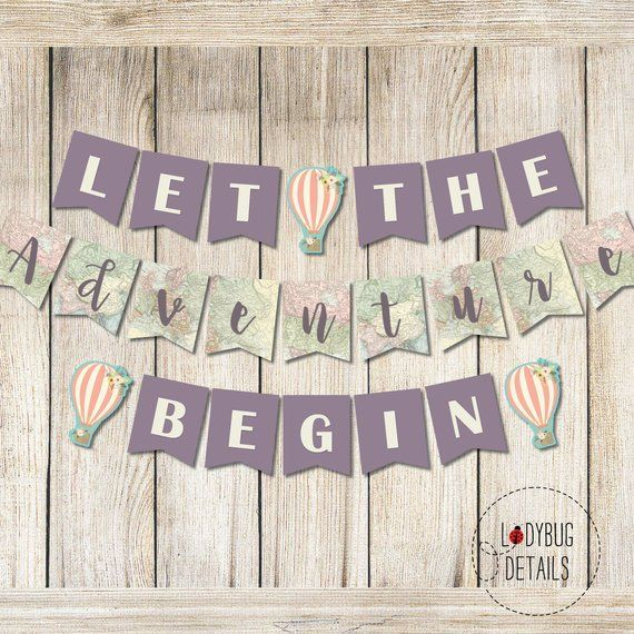 Let the Adventure Begin Banner, Travel Printable Banner, Adventure Graduation Ba...