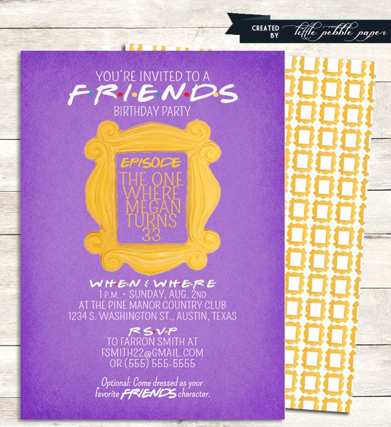 FRIENDS TV Show Shower Invitation, Bridal Shower, Birthday Party, Baby, FRIENDS ...