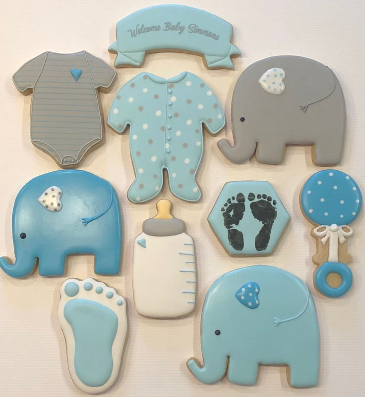 Elephant baby shower cookies Elephant cookies Baby blue cookies Footprint cookie...