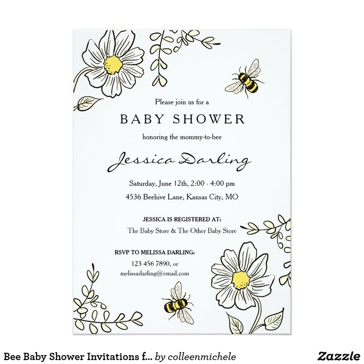 Bee Baby Shower Invitations for Bumble Bee Shower Cute yellow and white floral b...