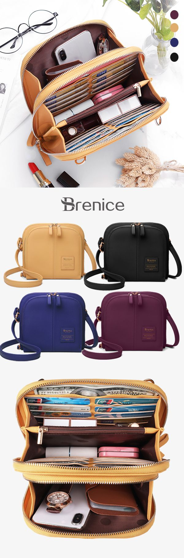 【US$ 25.99】Women Solid 17 Cards Holder Casual Shopping Bag Crossbody Bag #cr...