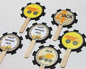 Construction party cupcake toppers (24) - birthday party, dump truck birthday, b...