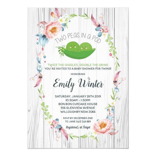 Boho Two Peas in a Pod Twins Baby Shower Invitation #Ad , #AD, #Twins#Baby#Showe...
