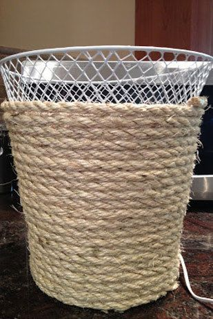 Give your trash can a rustic makeover. | 18 DIY Dollar-Store Projects That'l...