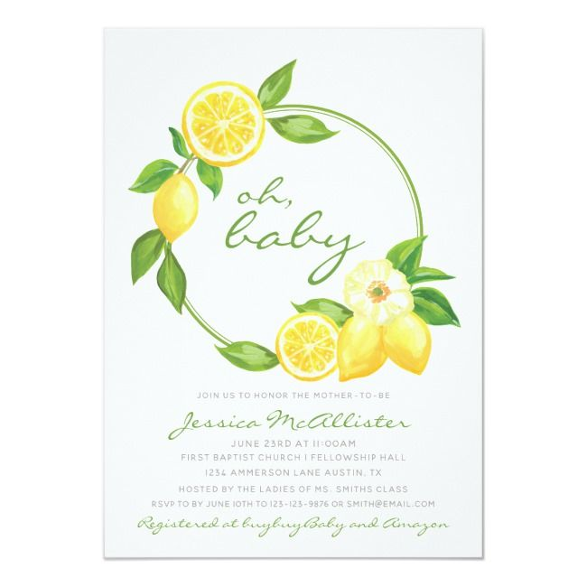 Lemon Yellow Wreath Citrus Polkadot Baby Shower Invitation #Ad , #Ad, #Polkadot#...