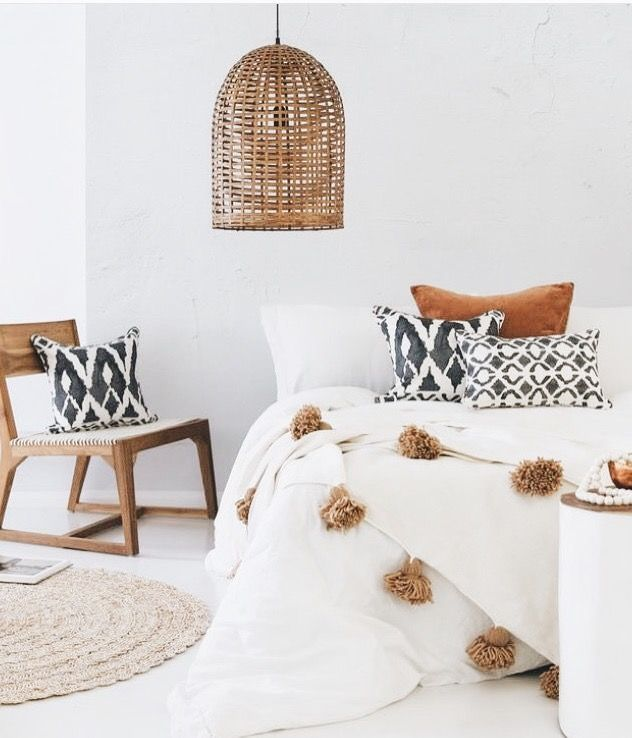 ♡ I love the white walls and mustard buds. Also this duvet is so sweet ...