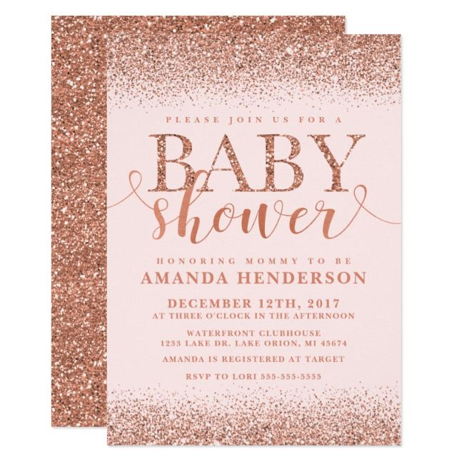 Rose Gold Fox Glitter Baby Shower Invitation Glitter#Baby#Shower#Fox