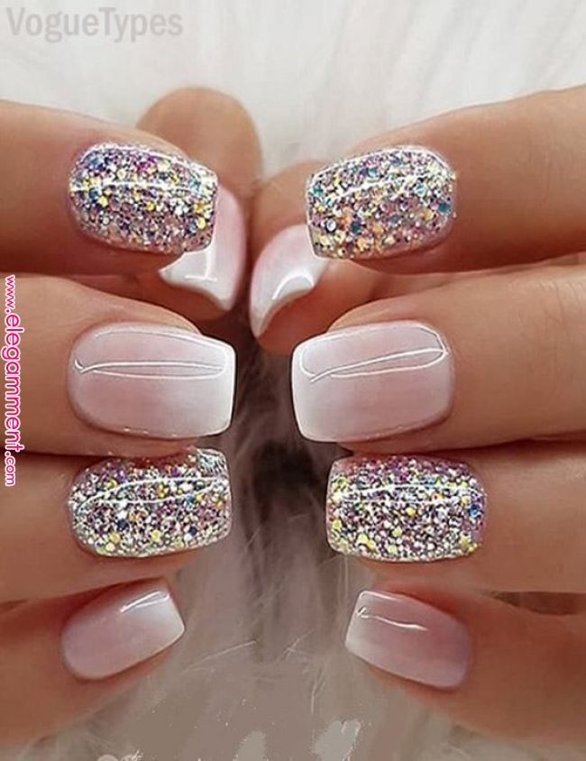 Milky White Ombre Glitter Nails Designs & Pictures for Ladies ... - #amp #Pictures # ...