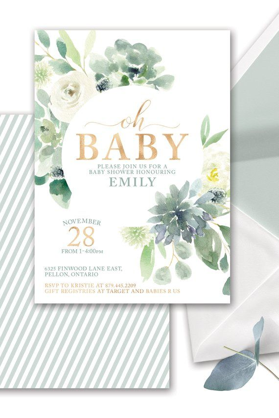 Succulent Baby Shower Invitation printable