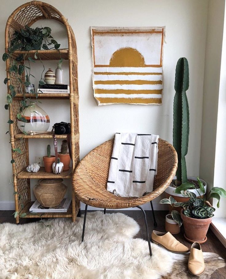 Boho decor in natural tones A mix of modern bohemian and industrial ...