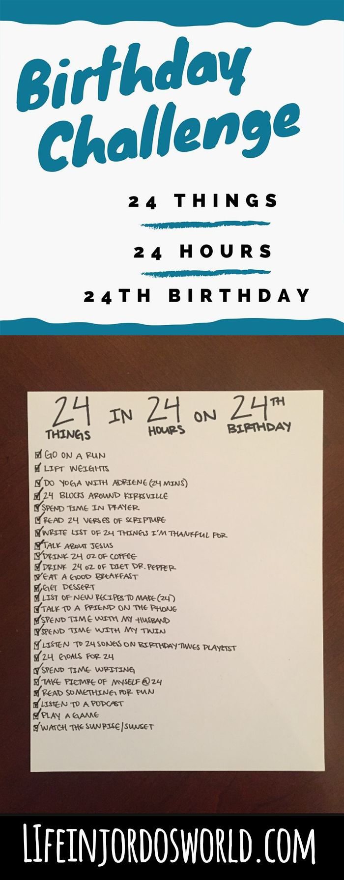 The 24th birthday challenge: 24 things to do in 24 hours on your 24th birthday!