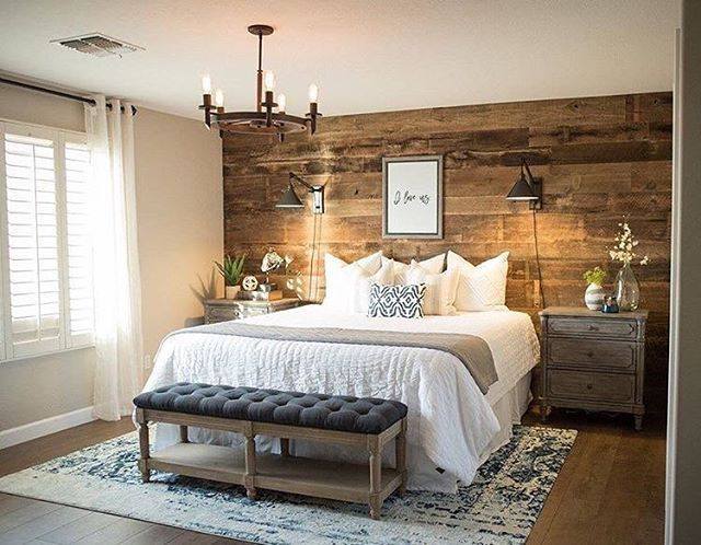 Barnwood Accent Wall | Master Bedroom Inspiration | Rustic Bedroom | White Beddi...
