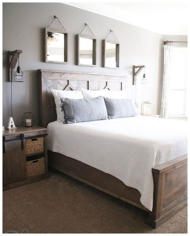 44 DIY Rustic Modern King Bed Ideas #rusticbedroomideas #rustickingBed #modernki...