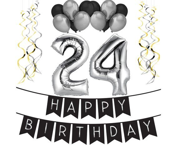 24th Birthday Party Pack – Black & Silver Happy Birthday Bunting, Balloon, and...