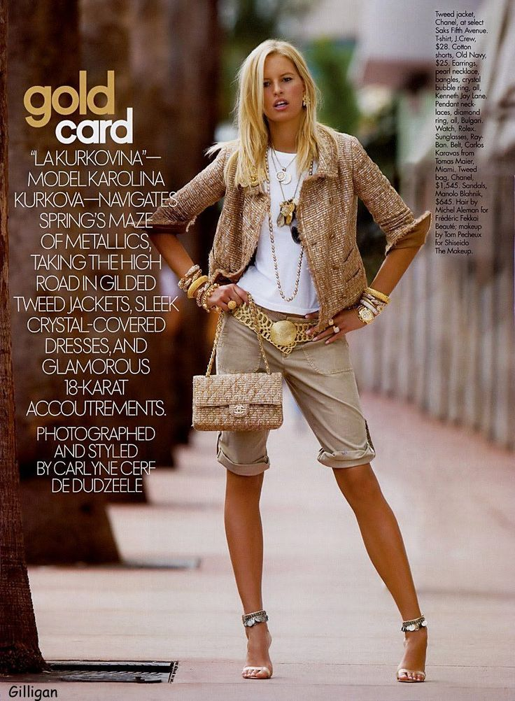 """sports luxe ☆ Karolina Kurkova   Elle May 2005 """"Gold Card"""" by Carlyne Cerf Ded..."""