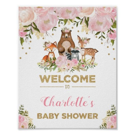Girl Woodland Baby Shower Pink Floral Welcome Sign | Zazzle.com