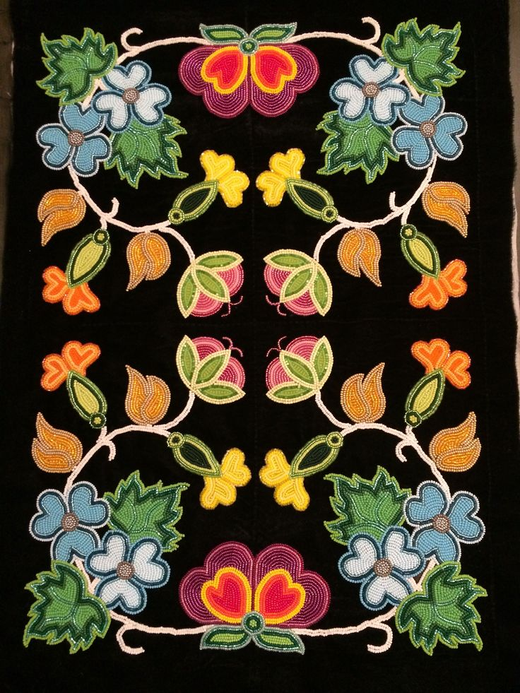 ojibwe floral dress panel beadwork floral