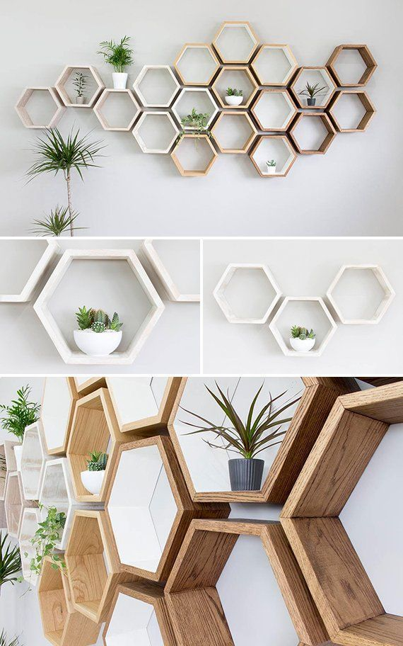 Rustic White Hexagon Solid Oak Wall Shelf | Rustic white oak ...