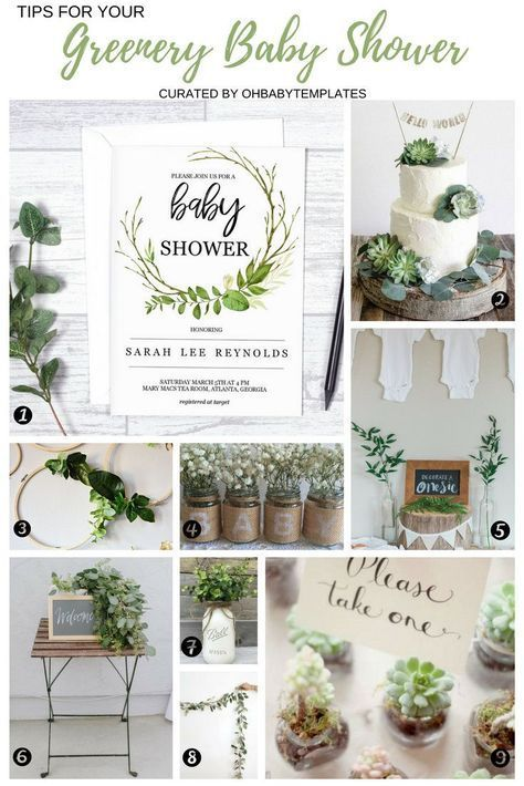 Greenery Baby Shower ideas, printable baby shower invitation, succulent shower f...