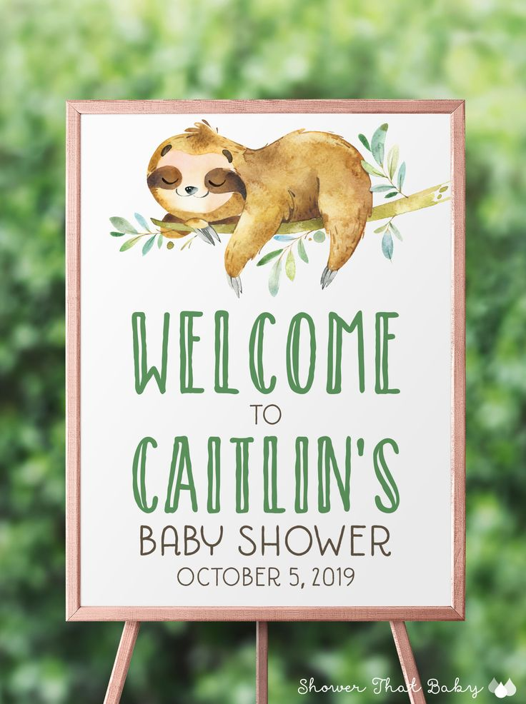 Printable Sloth Baby Shower Welcome Sign - Sloth Baby Shower Decoration