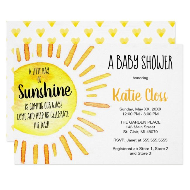 A Ray of Sunshine - Baby Shower Invitation #Ad , #ad, #Baby#Shower#Invitation#Sh...