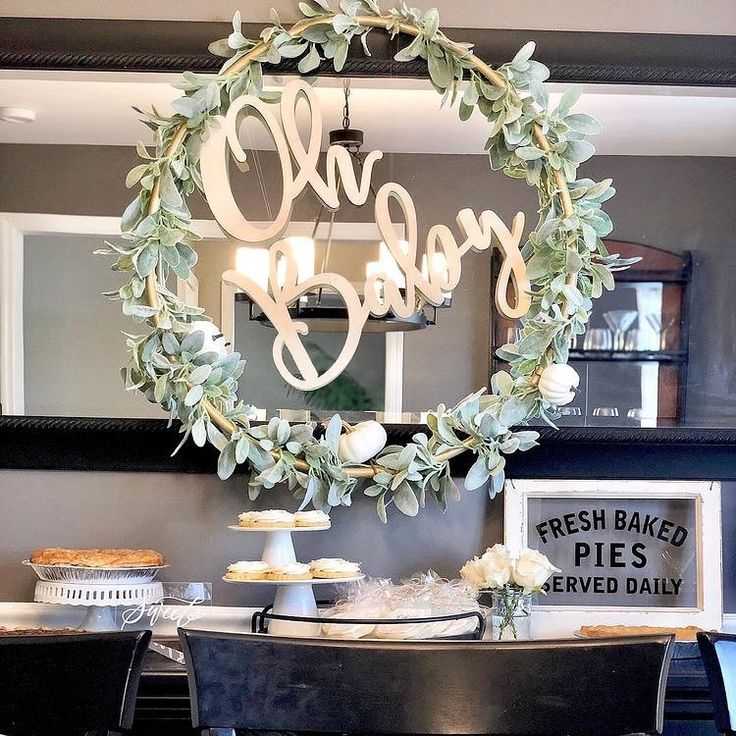 Obsessed with the wreath + calligraphy. The perfect farmhouse baby shower! • ...