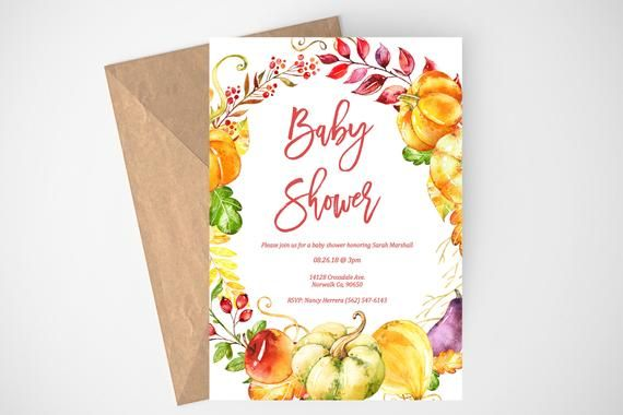 Fall Baby Shower Invitation, Autumn Baby Shower, Fall Invitation, Printable Invi...