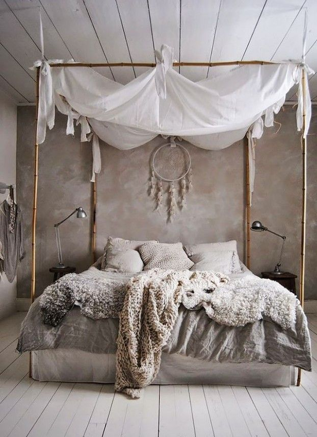 bedroom ideas in boho style_small bedroom design with wall paint gra ...